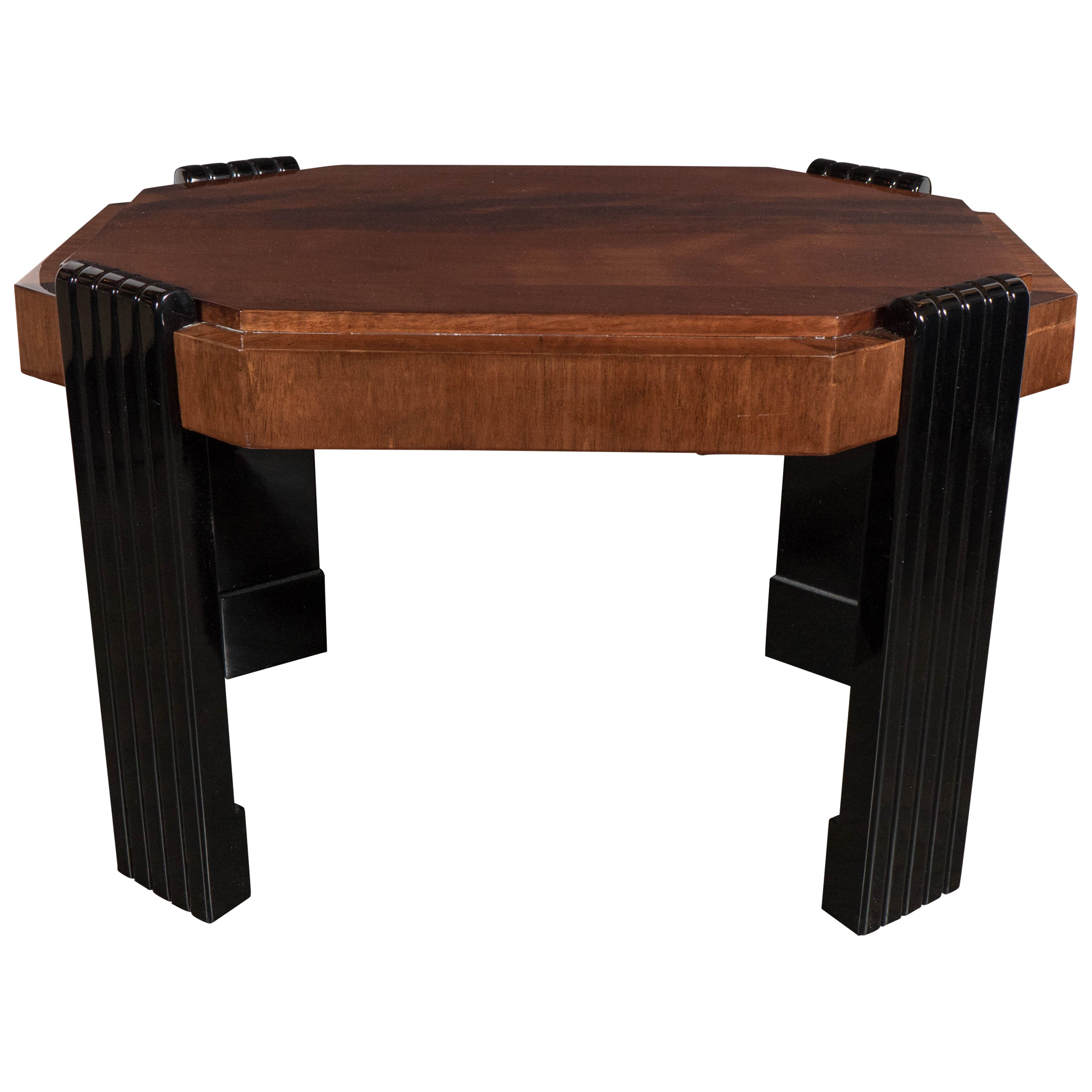 Art Deco Streamlined Octagonal Occasional Table in Bookmatched Burled Walnut