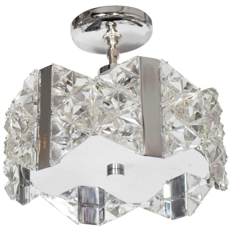 Stunning Mid-Century Deep Faceted Crystal Prism Chandelier by Kinkeldey