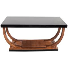 Art Deco Machine Age Streamlined Cocktail Table in Walnut and Black Lacquer