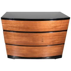 Streamlined Art Deco Bow Fronted Low Chest in Mahogany and Black Lacquer