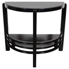 Art Deco Two-Tier Demilune End/Side Table in Black Lacquer with Vitrolite Top