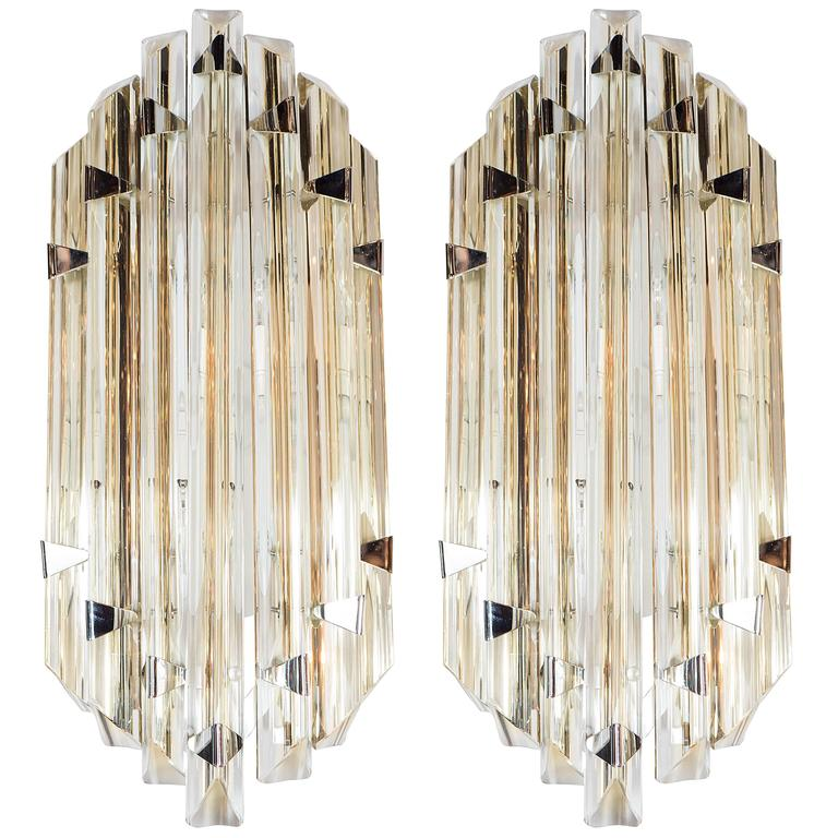 Pair of Mid-Century Modernist Sconces by Venini in Pale Amber Murano Glass