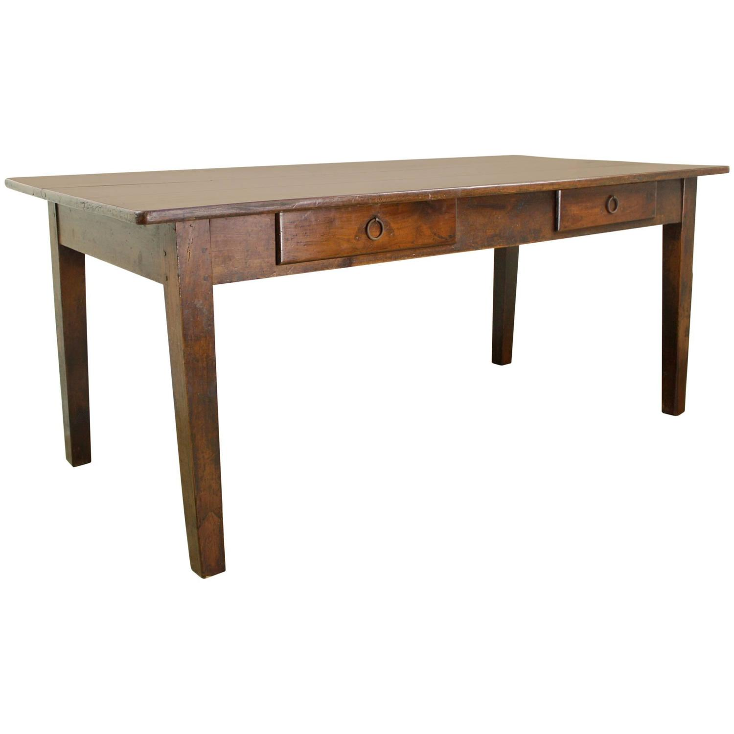 Antique two drawer french cherry dining table at 1stdibs Dining table with drawer