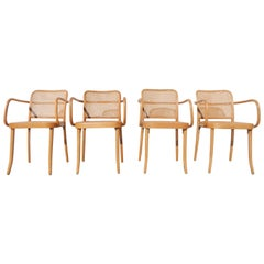 Set of Four Josef Hoffmann Bentwood and Cane Armchairs