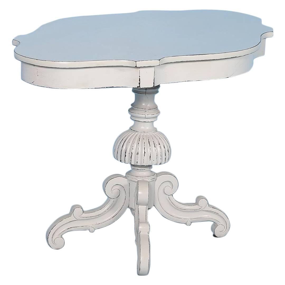 Antique Victorian Side Pedestal Table From Sweden Painted