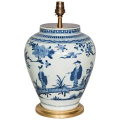 late 17th century japanese blue and white vase lamped