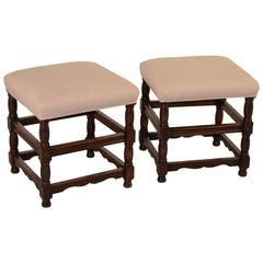 19th Century  Pair of French Upholstered Stools