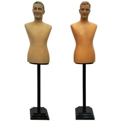 Pair of Art Deco Plaster Bust, Painted Mannequin