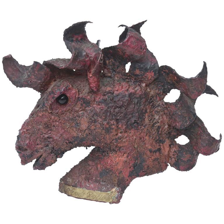 Signed Bronze Modernist & Brutalist Painted Horse Bust Sculpture