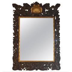 Carved Wood and Parcel-Gilt Wall Mirror