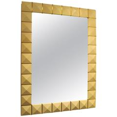 Custom Geometric Parchment Mirror with Inlaid Brass