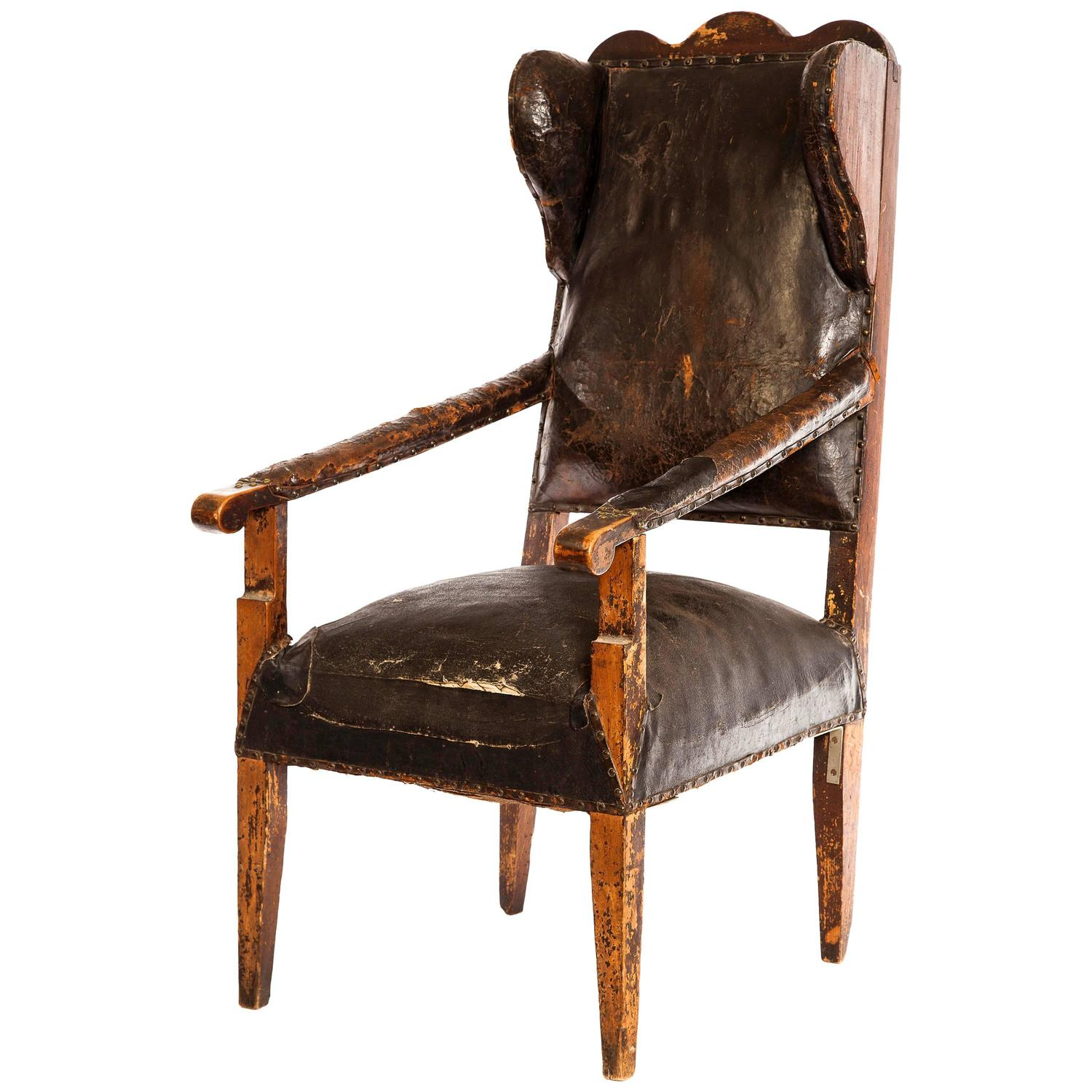 French leather chair for sale at 1stdibs for Leather wingback recliner sale