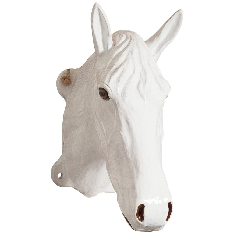 Glazed Ceramic Horse Head For Sale