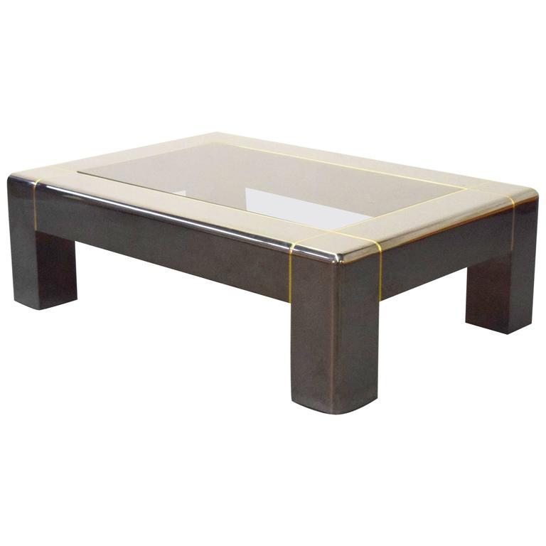 Karl Springer Gunmetal And Smoked Glass Coffee Table For Sale At 1stdibs