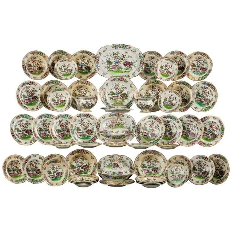 Mid-19th Century Oriental Design Part Dinner Service For Sale