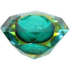 Flavio Poli Aqua Green & Amber Faceted Murano Glass Ashtray