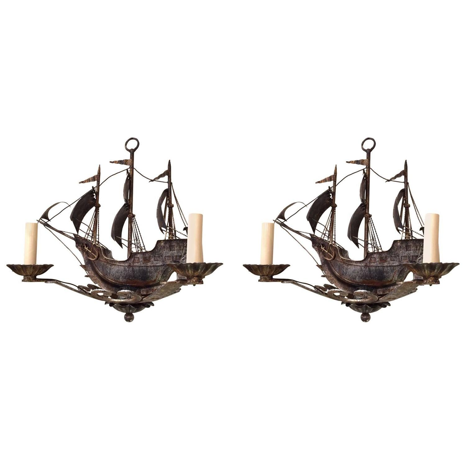 Pair of nantucket old world iron sailing ship chandeliers at 1stdibs aloadofball Choice Image