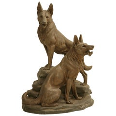 German Shepherd Dog Sculpture by Louis-Albert Carvin