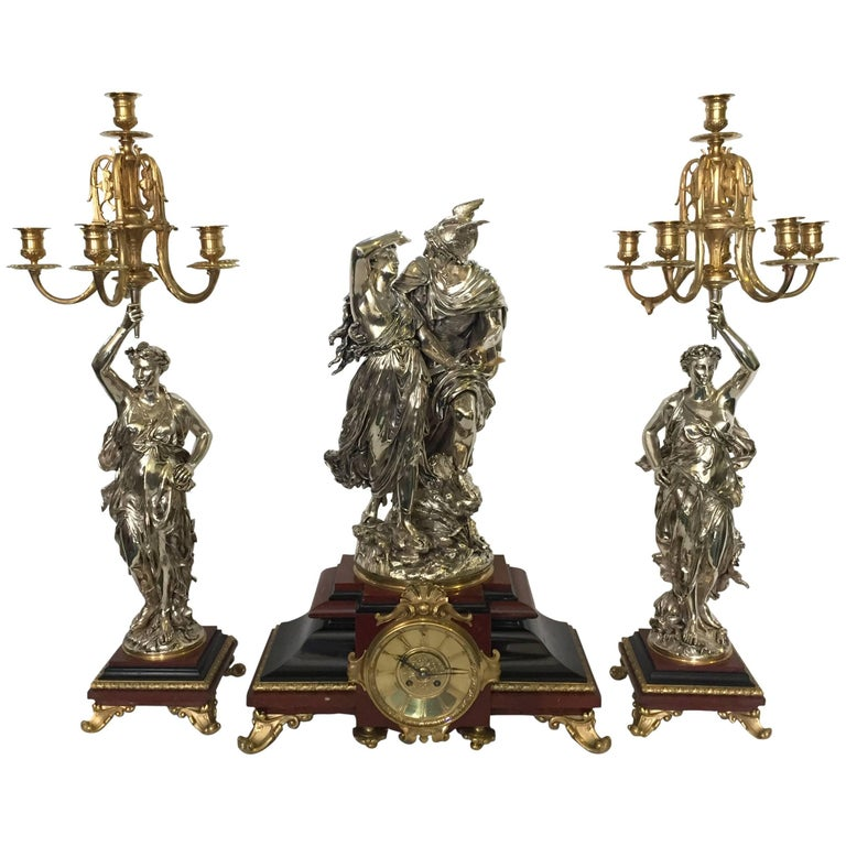 19th Century Clock Garniture by L. Gregoire For Sale