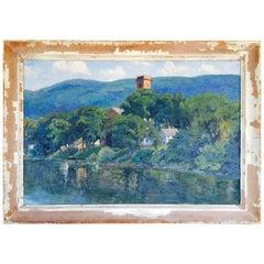 "Hortense Budell Oil Painting Titled ""River Front, N.J,"" 1939"