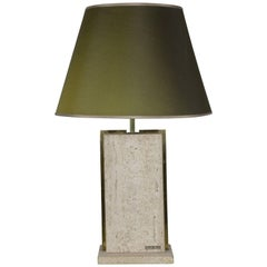 Travertine and Brass Lamp Signed by Camille Breesch, 1970s