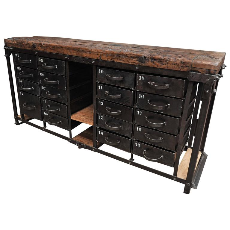 Industrial Iron and Pine French Factory Drawer Workbench 1920s For