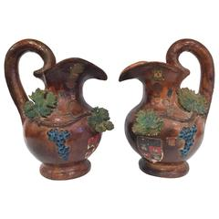 Pair of 19th Century French Painted Barbotine Wine Pitchers with Grapes & Vines