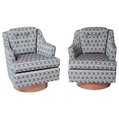 Pair of Swivel Club Chairs, in the Manner of Milo Baughman