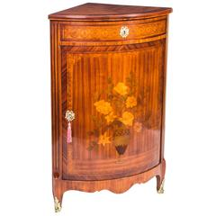 Antique Rosewood and Satinwood Marquetry Low Corner Cabinet, circa 1860