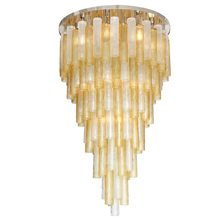 """Large Clear and Gold Tiered Murano Glass """"Tronchi"""" Chandelier, Italy, 60"""" H For Sale"""
