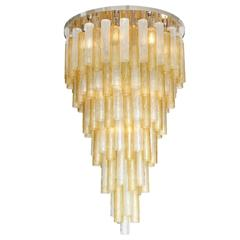 "Large Venini Style Clear and Gold Murano Glass ""Tronchi"" Chandelier, circa 1980"