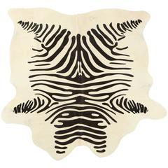 Stenciled Zebra Print Brazilian Cowhide Rug