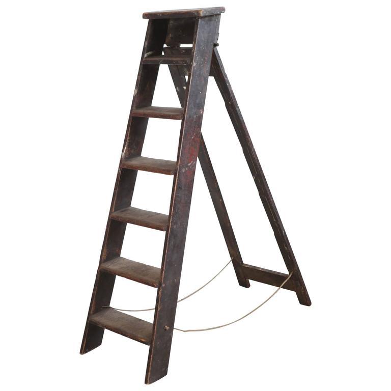 Rustic Seven Step Wooden Ladder 1