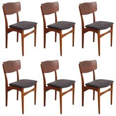 Mid-Century Teak Framed Dining Chairs with Velvet Seat Cushion