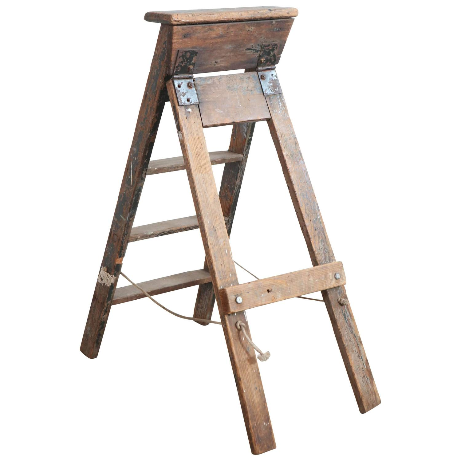 Rustic Five Step Wooden Ladder For Sale at 1stdibs