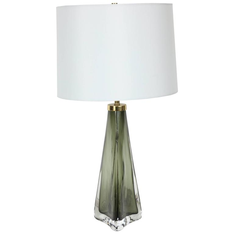 Olive Green Crystal Lamp by Carl Fagerlund for Orrefors