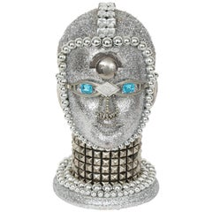 Silver Metallic Android Bust by W. Beaupre