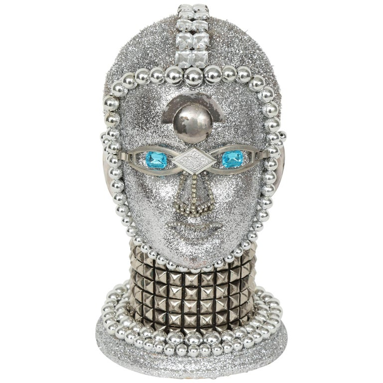 Silver Metallic Android Bust by W. Beaupre For Sale