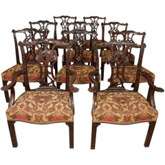 Chippendale style carved Mahogany Dining Chairs, 19th Century, Set of Ten (8+2)