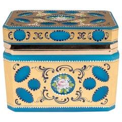 Mid-Century Hand-Painted & Gilded Blue Murano Glass Box