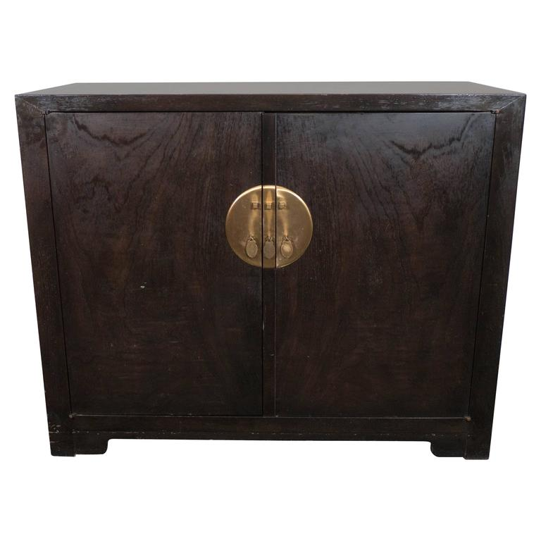Baker Asian Inspired Ebonized Cabinet For Sale