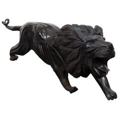 Asian Late 19th-Early 20th Century Carved Ebony Lion, Unsigned