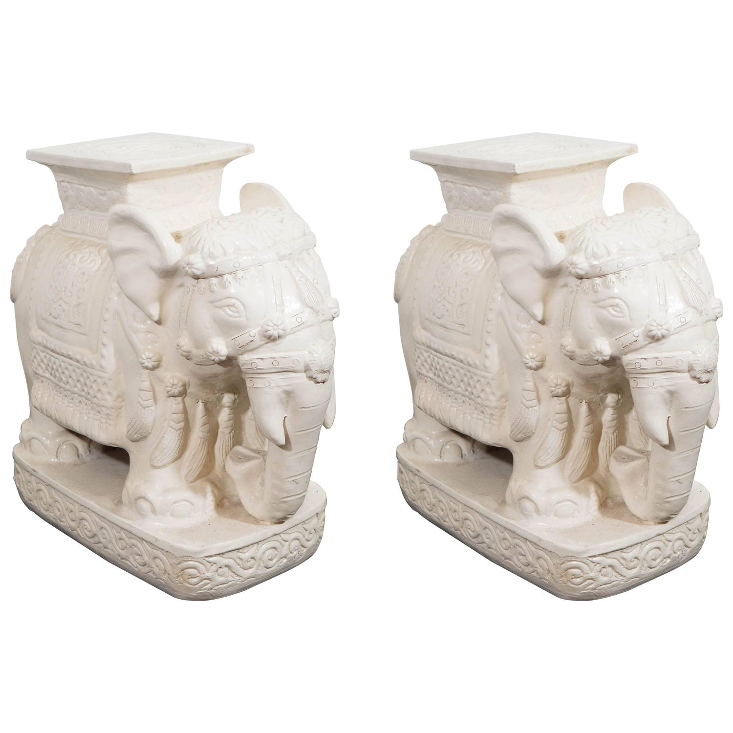 Pair Of Asian Inspired Elephant Garden Stools For Sale At