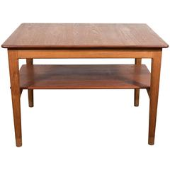 Scandinavian Modern Teak Side Table with Shelf by Johannes Hansen of Denmark