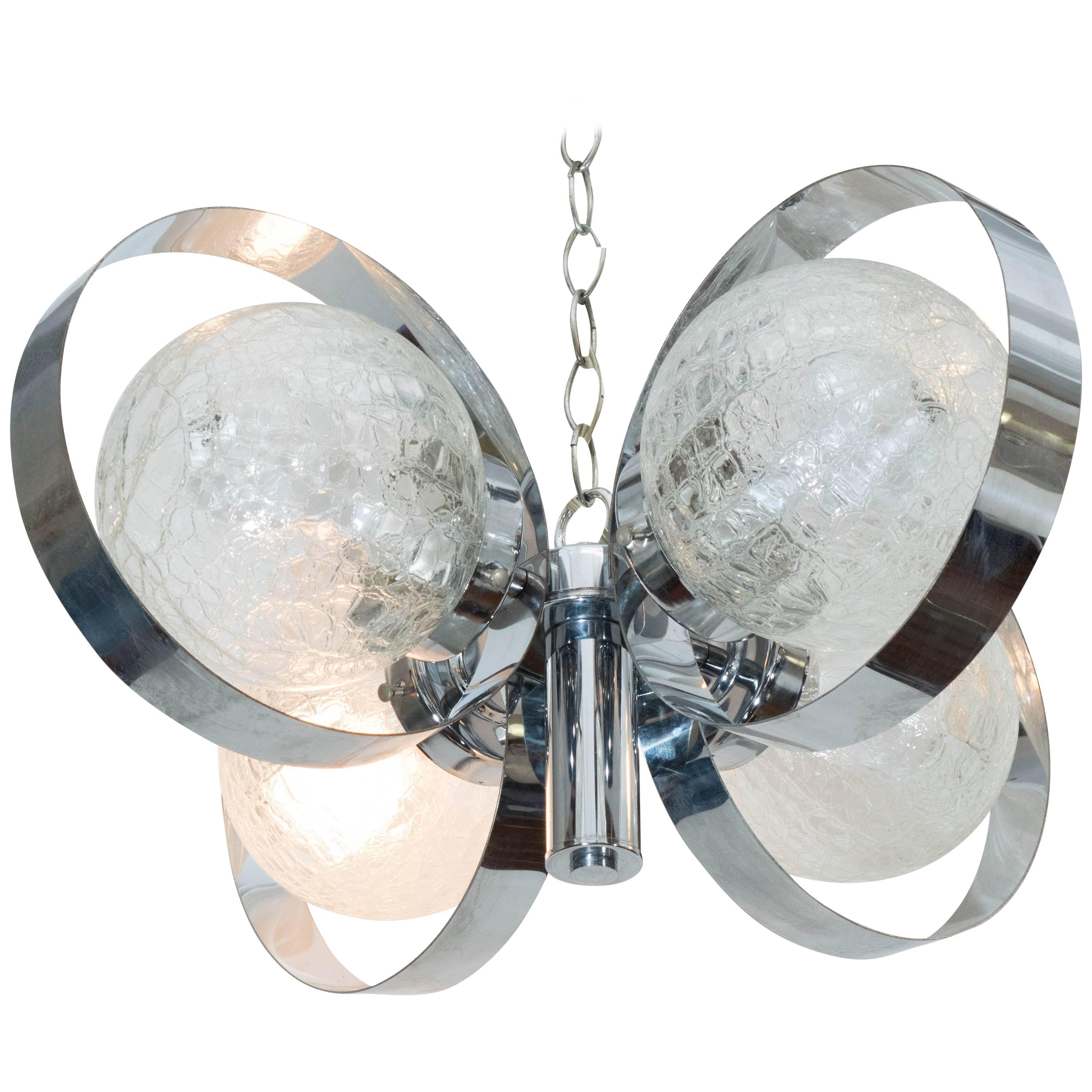 Italian 1970s Chrome Ring Chandelier with Crackle Glass Globes