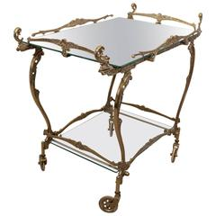 Rococo Style Two-Tier Tea Cart in Brass