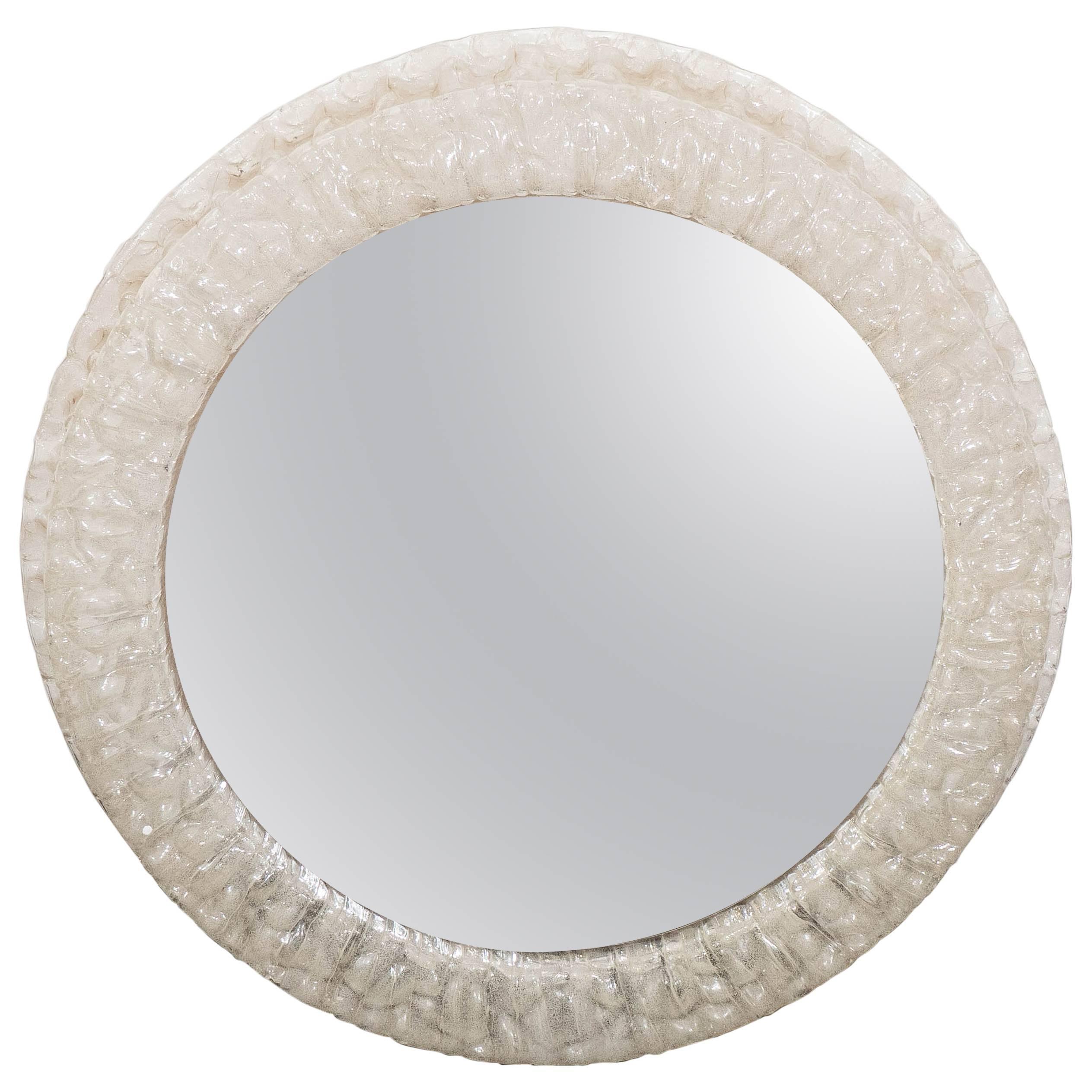 Mid-Century Round Resin Frame Illuminated Mirror