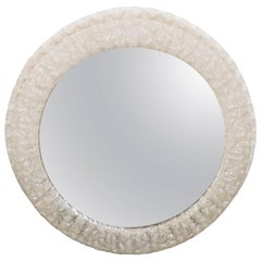 Mid-Century Round Resin Frame Illuminated Mirror