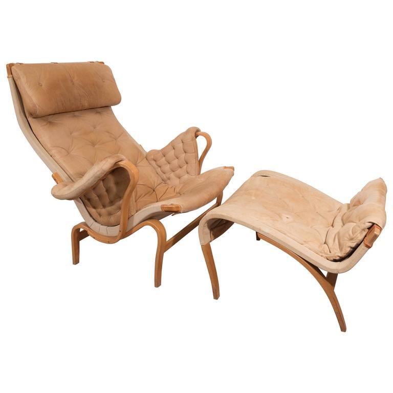 Bruno Mathsson 'Pernilla' Lounge Chair and Ottoman for DUX 1
