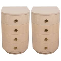 Pair of Streamline Art Deco Style Demilune Bedside Tables